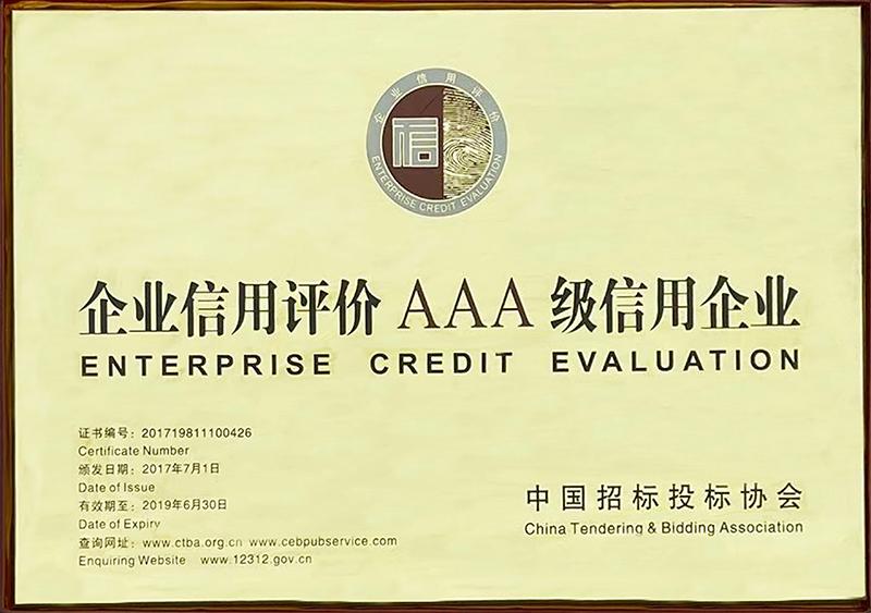 中国招标投标协会企业信用等级证书